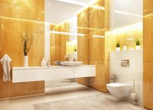 Modern bathroom design with large mirror. And glossy marble royalty free stock images