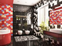 Modern bathroom design with a window. Modern bathroom design interior in large house royalty free stock photo