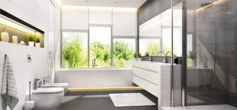 Modern bathroom design with a window. Modern white bathroom design with a window royalty free stock photography
