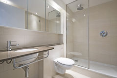Modern bathroom with designer wash basin. And large shower Stock Images