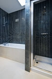Modern bathroom detail with bath tub and shower. With black tiled walls royalty free stock image