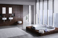 Modern bathroom with double basin and jacuzzi. A 3d rendering of modern bathroom with double basin and jacuzzi Royalty Free Stock Photos