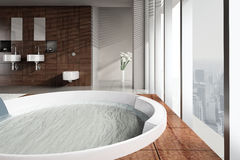 Modern bathroom with double basin and jacuzzi stock images