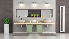 Modern bathroom with double washbasin Royalty Free Stock Photography