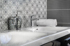Modern bathroom faucet Royalty Free Stock Photography