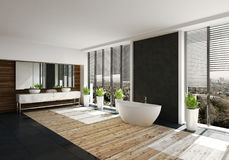 Modern bathroom with feature black wall. And boat shaped tub flanked by large view windows with blinds. Double vanity over a light wood floor. 3d render Stock Photo