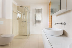 Modern bathroom with glass shower Stock Image
