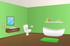 Modern bathroom green bath towel sink toilet illustration Stock Photography