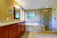 Modern bathroom inteiror with tile trim Stock Photos