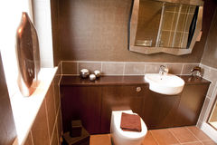 Modern bathroom interior. The interior of a modern bathroom with toilet and sink Royalty Free Stock Photography