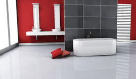 Modern Bathroom Interior. Interior of a modern and contemporary bathroom colored in red with clean and minimalist design and furniture. 3d rendering Stock Images
