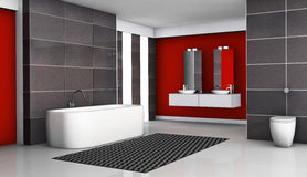 Modern Bathroom Interior. Bathroom interior with modern fixtures and contemporary design with black granite tiles and white floor, 3d rendering Royalty Free Stock Image