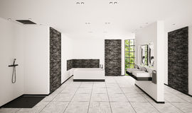 Modern bathroom interior 3d render Stock Image