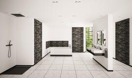 Modern bathroom interior 3d render Stock Image