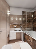 Modern bathroom interior with beige and brown marble tiles Stock Images