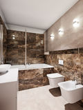 Modern bathroom interior with beige and brown marble tiles Stock Photos