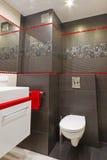 Modern bathroom interior. Modern black red white bathroom interior Stock Photos
