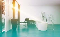 Modern bathroom interior with bright sun flare Royalty Free Stock Photos