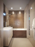 Modern bathroom interior with brown and beige tiles Stock Photo