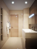Modern bathroom interior with brown and beige tiles Royalty Free Stock Image