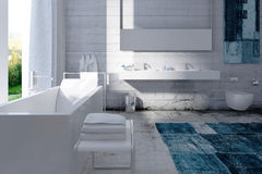 Modern bathroom interior with concrete wall Stock Photo