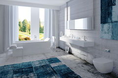 Modern bathroom interior with concrete wall Royalty Free Stock Photography