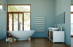 Modern bathroom interior 3d rendering with door. Modern bathroom interior 3d rendering mock up with bathtub Stock Photos