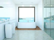 Modern bathroom interior design 3d rendering scene. Modern bathroom interior 3d rendering mock up with bathtub Royalty Free Stock Photo