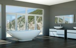 Modern grey bathroom interior 3d rendering mock up. Modern bathroom interior 3d rendering mock up with bathtub Royalty Free Stock Photography