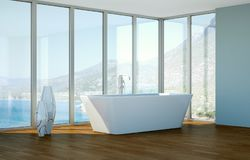 Modern bathroom interior 3d rendering with ocean view. Thru big window Stock Photos