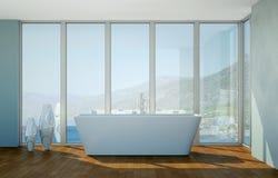 Modern bathroom interior 3d rendering with ocean view. Thru big window Royalty Free Stock Photos