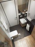Modern bathroom interior, 3d rendering. Modern bathroom interior, top view, 3d rendering Stock Photos