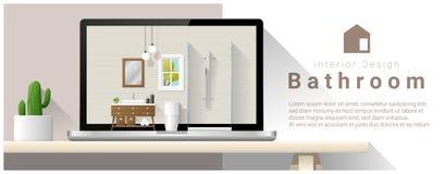 Modern bathroom interior design background Royalty Free Stock Image