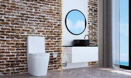 The modern bathroom interior design and brick wall pattern background and sea view. 3d rendering interior design of bathroom Royalty Free Stock Images