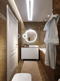 Modern Bathroom Interior Design with Brown and Beige Marble Tile Royalty Free Stock Photography