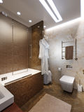 Modern Bathroom Interior Design with Brown and Beige Marble Tile Royalty Free Stock Image
