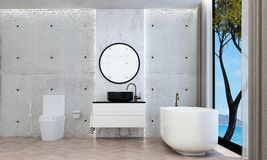 The modern bathroom interior design and concrete wall pattern background and sea view. 3d rendering interior design of bathroom Stock Photography