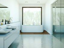 Modern bathroom interior design 3d rendering scene. Modern bathroom interior 3d rendering mock up with bathtub Stock Photo