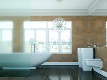 Modern bathroom interior design 3d rendering scene. Modern bathroom interior 3d rendering with ocean view thru big window Stock Photos