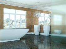Modern bathroom interior design 3d rendering scene. Modern bathroom interior 3d rendering with ocean view thru big window Royalty Free Stock Photo