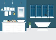 Modern Bathroom interior design with furniture. Stock Photo