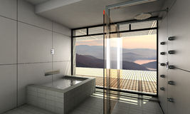 Modern bathroom. Interior design rendering of modern minimal spa bathroom with light colors and wooden features and great view Royalty Free Stock Image