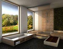 Modern bathroom. Interior design rendering of modern spa bathroom with light colors and wooden features and great view Royalty Free Stock Images