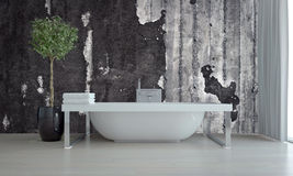 Modern bathroom interior with freestanding tub. On a chrome frame against a concrete wall with a topiary tree in a flowerpot, grey floor and window blinds. 3d royalty free stock photography