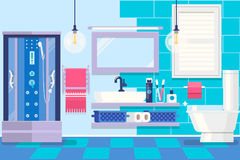 Modern bathroom interior with furniture. Basic Room of Home. Vector illustration stock illustration