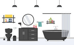 Modern bathroom interior with furniture in flat style Stock Photos
