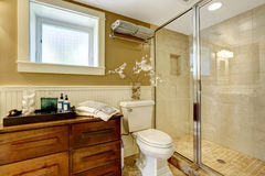 Modern bathroom interior with glass door shower Royalty Free Stock Photos