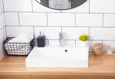 Free Modern Bathroom Interior In Details. Royalty Free Stock Photography - 123297487