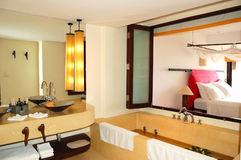 Modern bathroom interior at the luxury villa Stock Photography