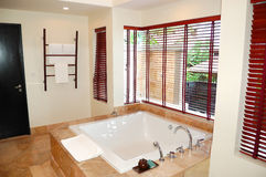 Modern bathroom interior at the luxury villa Royalty Free Stock Photos